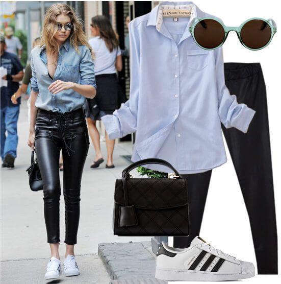 En un día cualquiera Gigi sabe que la comodidad y el estilo van de la mano, por eso combina prendas básicas como camisa y tenis con un pantalón de efecto cuero. El outfit de Gigi Hadid, casualwear