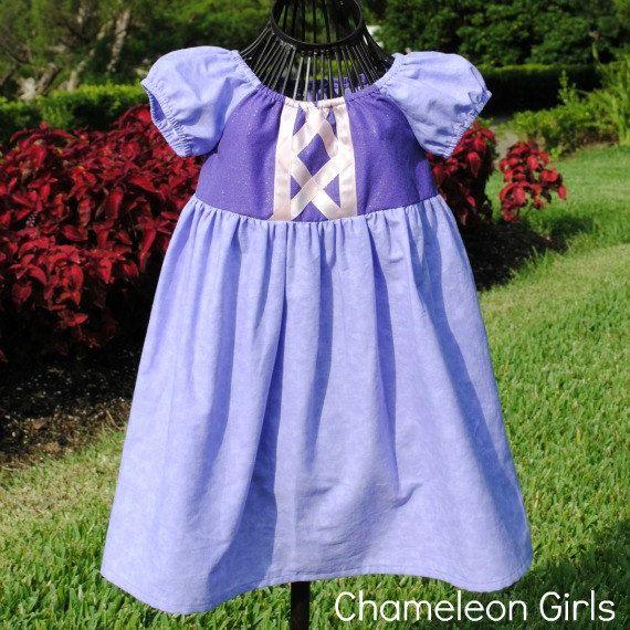 Rapunzel Tangle Classic Peasant Disney Inspired Dress Costume. ChameleonGirls via Etsy.