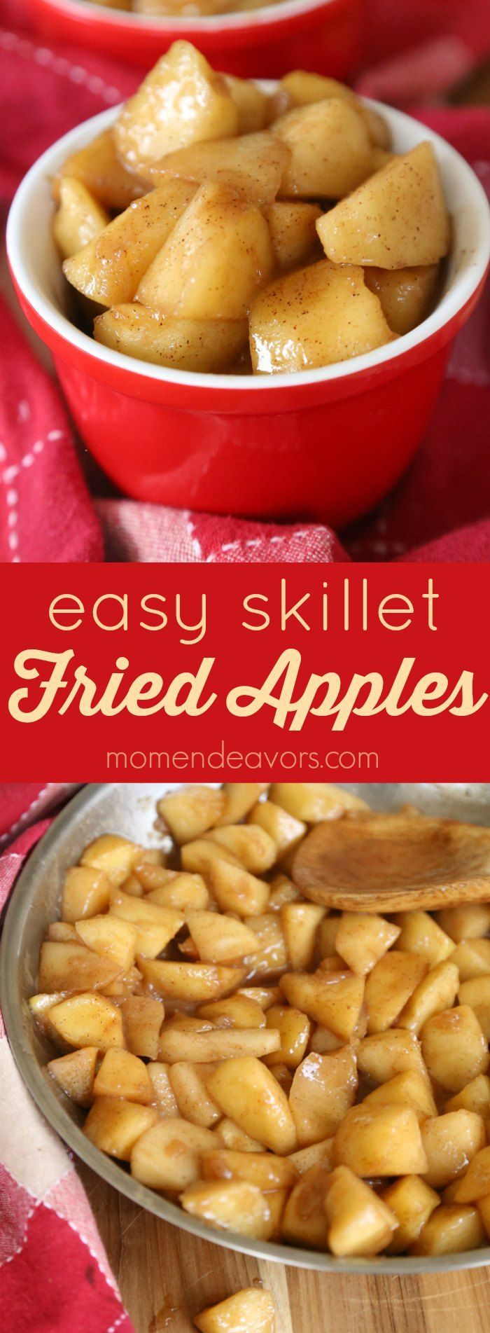 Easy Skillet Fried Apples -fried apples make for a tasty dessert or sweet side dish that the whole family will love. Sponsored by REVEREWare. (Apple Recipes)