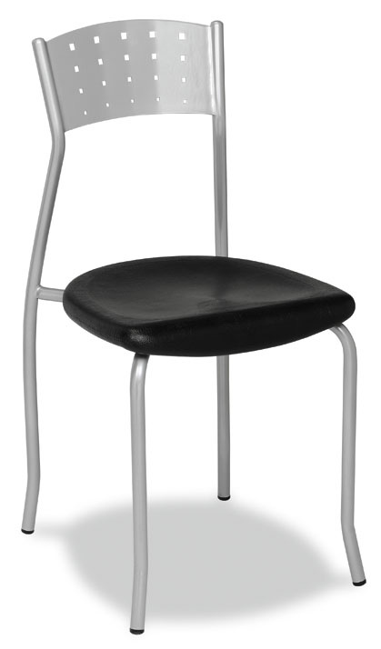 Silla Mod. 149 plastificada color aluminio y asiento de espuma integral.