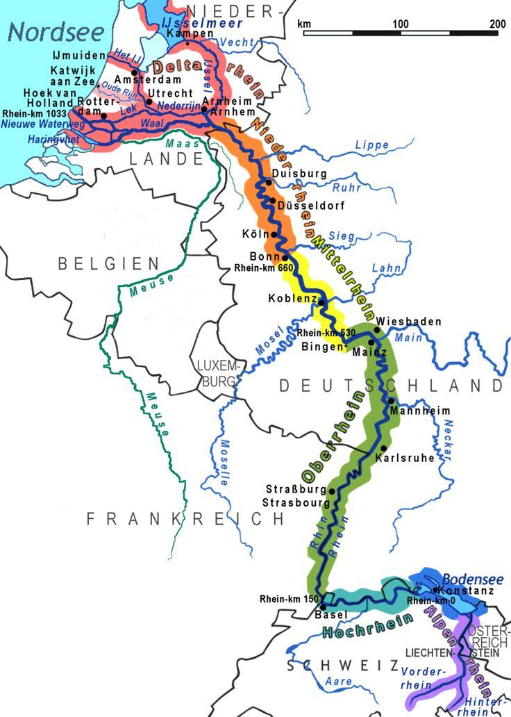 Der Rhein / Rhin / Reno / Rain / Rijn) - Abschnitte des Rheinlaufs.