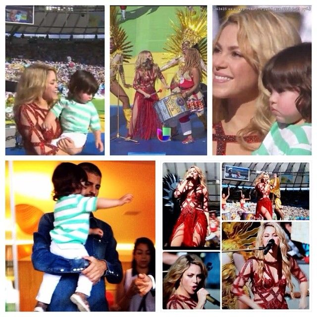 Shakira in the closing ceremony (with her son milan pique, gerard's son)