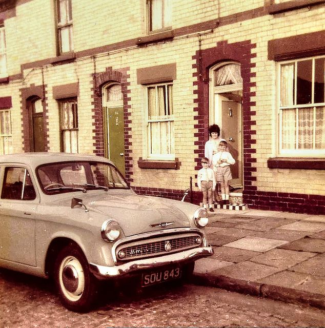 Full colour transparency of the terraced house in Hughson Street. Cobbled streets, welsh paving slabs on the pavement and a 1962 Hillman Minx!