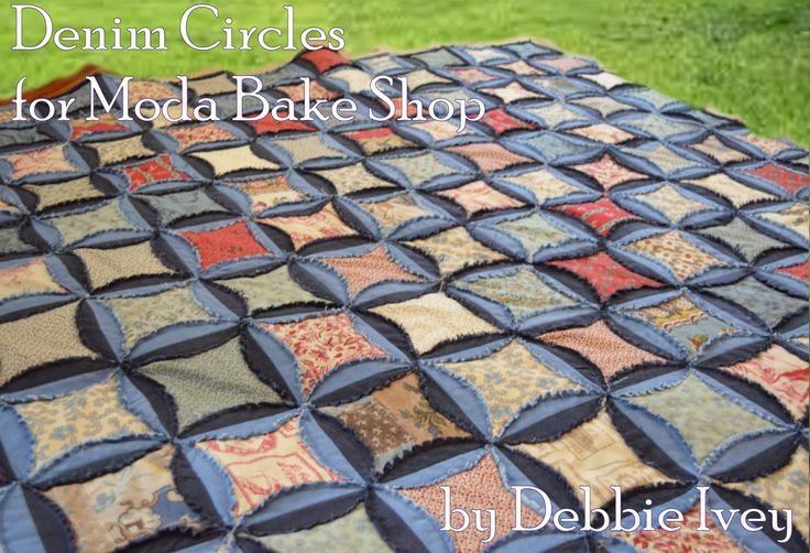 "Denim Circles Quilt  by Debbie Ivey... nice feature about this quilt is that it's a ""quilt as you go"" project, meaning once the circles are sewn together the quilt will be finished completely...59 x 66 lap quilt or picnic blanket"