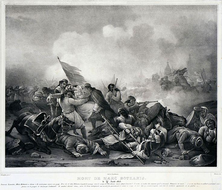 Jean-Charles Langlois (1789-1870)-Mort de Botzari, 20 Aout 1823, 1826