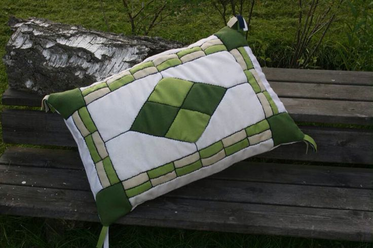 Cushion made of wool, patchwork