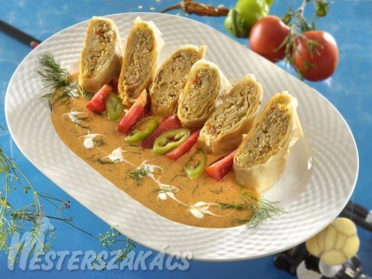 Halas rétes kapros-paprikás mártással recept