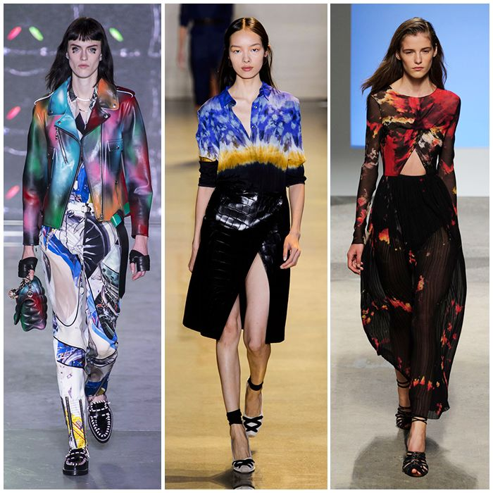 Tie-Dye If this season is all about boho brown suede, next season will take on the hippie trend in a totally different way: with tie-dye fabrics. We're already eyeing Louis Vuitton's killer jacket.   Read more: http://stylecaster.com/runway-fashion-trends-spring-2016/#ixzz3p7GiWY1Y