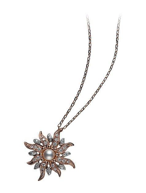 Opera Pendant - Akoya cultured pearl with diamonds set in 18k white & rose gold. http://www.mikimoto.co.uk/opera-pendant.html