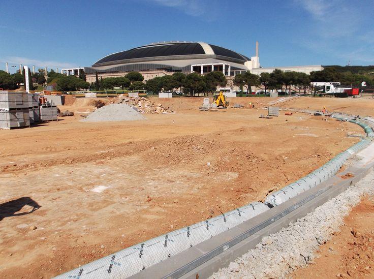drainage-french drain-how to build-baseball- BARCELONA  drenaje-dren frances-como construir- béisbol en anillo Olímpico de Barcelona
