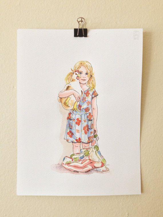 Custom Children portrait illustration watercolor by LaCatrinaArt