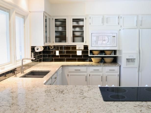 White granite countertops offer a more affordable — but equally durable and elegant — alternative to marble.