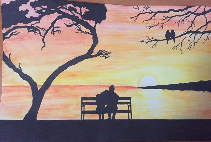 Watercolour Couple Sunset