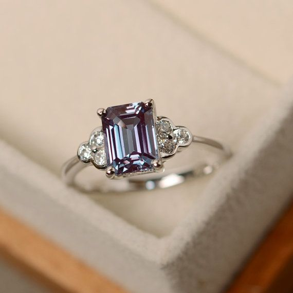 Lab alexandrite ring emerald cut alexandrite