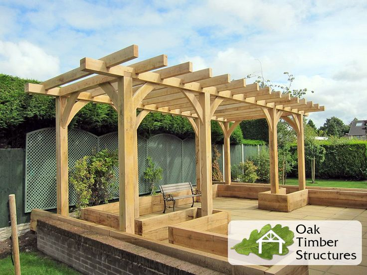 Solid Oak Frame Pergola supplied in kit form by Oak Timber Structures along with…