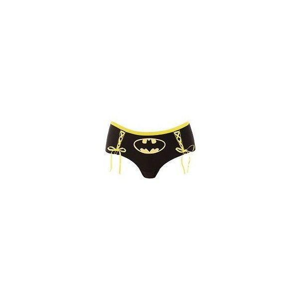 Batman Black Lace-Up Bikini | Buy 3 Get 2 Free Panties ($8.50) ❤ liked on Polyvore featuring intimates, panties, batman, underwear, bathing suit, bottoms, bikini panties, bikini panty, panty bikini and laced panties