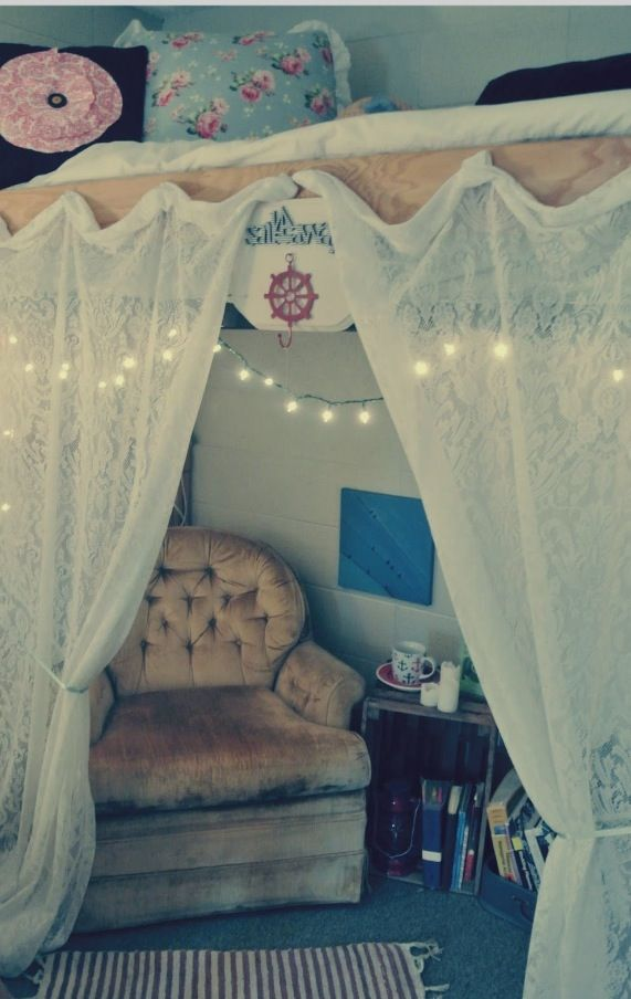 Curtains underneath a loft bed can make the space seem a little more to yourself, or do it so when you can sleep on the bottom when your roomies are up late studying!