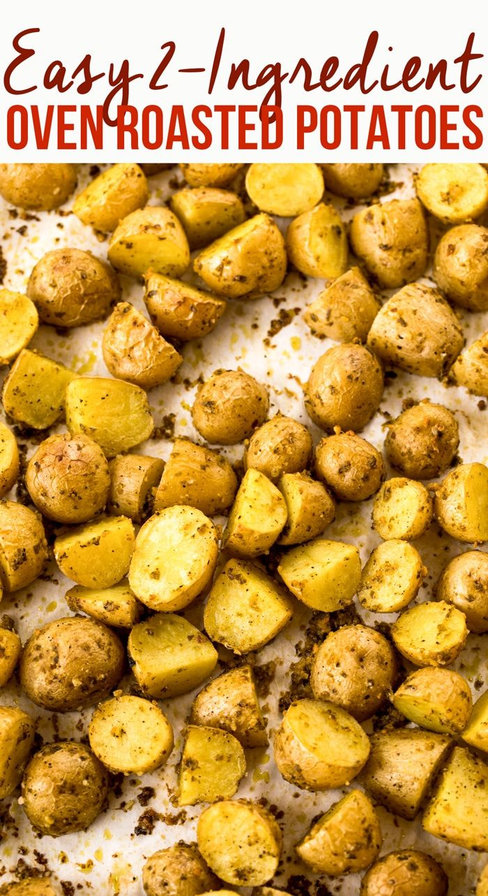 Easy 2 Ingredient Oven Roasted Potatoes Recipe A Simple Baked New Potato Side Dish With Potato Recipes Side Dishes Roasted Potato Recipes Easy Potato Recipes