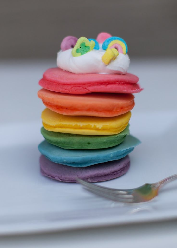 Rainbow Pancakes! The perfect breakfast for St. Patrick's Day.
