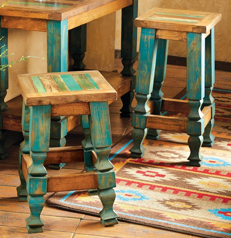 Attractive Distressed Turquoise Furniture | Old Wood Turquoise Barstool