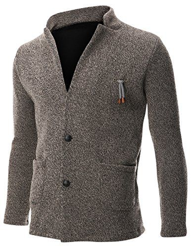 Mens Knit Jacket/Sweater/Cardigan, 2 Button Stand Collar with Pocket