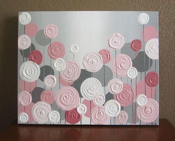 Rose et gris texturé fleur pépinière Art, Original peinture sur toile, calibrage personnalisé