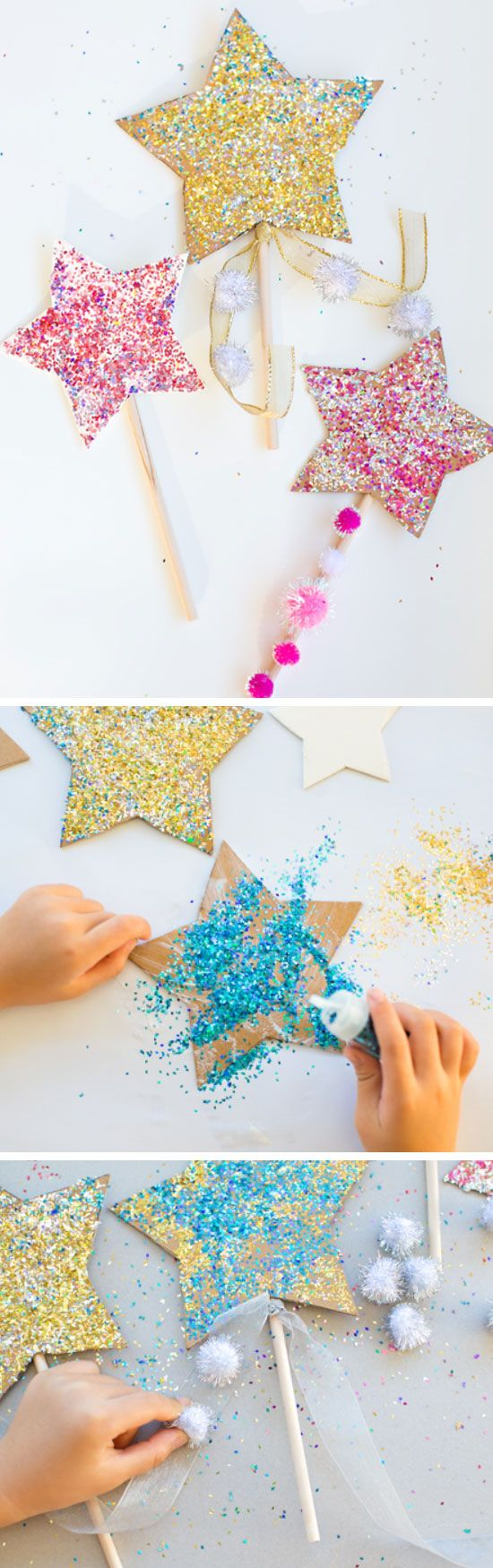 DIY Glitter Celebration Star Wands | DIY New Years Eve Decorations for Kids | DIY New Years Eve Party Ideas for Kids ...tutorial http://www.hellowonderful.co/post/DIY-GLITTER-CELEBRATION-STAR-WANDS