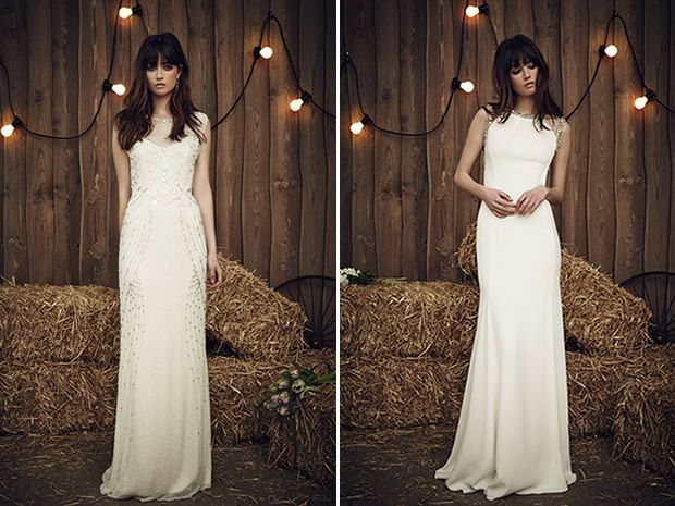 The Betsy and Cora gowns from Jenny Packham's 2017 collection are ideal if you want to go for a figure-hugging dress. #weddingdresses #countrywedding #bridalstyle #bohobrides