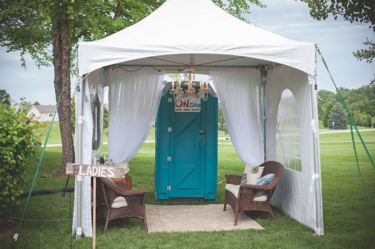 Outdoor wedding bathroom tent wedding pinterest for Outdoor party tent decorating ideas