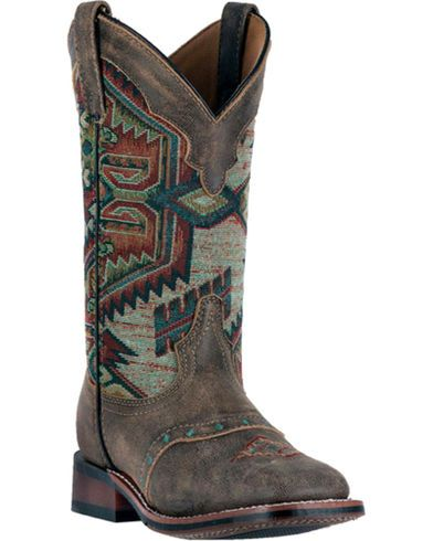 Laredo Women's Taupe with Aztec Top Boots - Square Toe | Sheplers