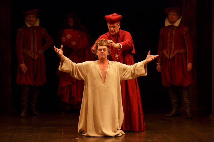 King John hits the big screen April 9 & 12! Don't miss your chance to see this spectacular production in HD at a cinema near you!  (P) Tom McCamus (centre, left) as King John and Brian Tree as Cardinal Pandulph with members of the company in King John. Photo by David Hou.