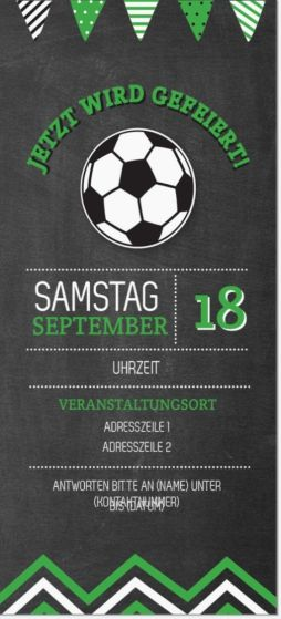 Kohlschwarze Fußball Vertikale Standard-Einladungen - 95 mm x 210 mm, Kohlschwarze Witzig-Vertikale Standard-Einladungen - 95 mm x 210 mm   Vistaprint