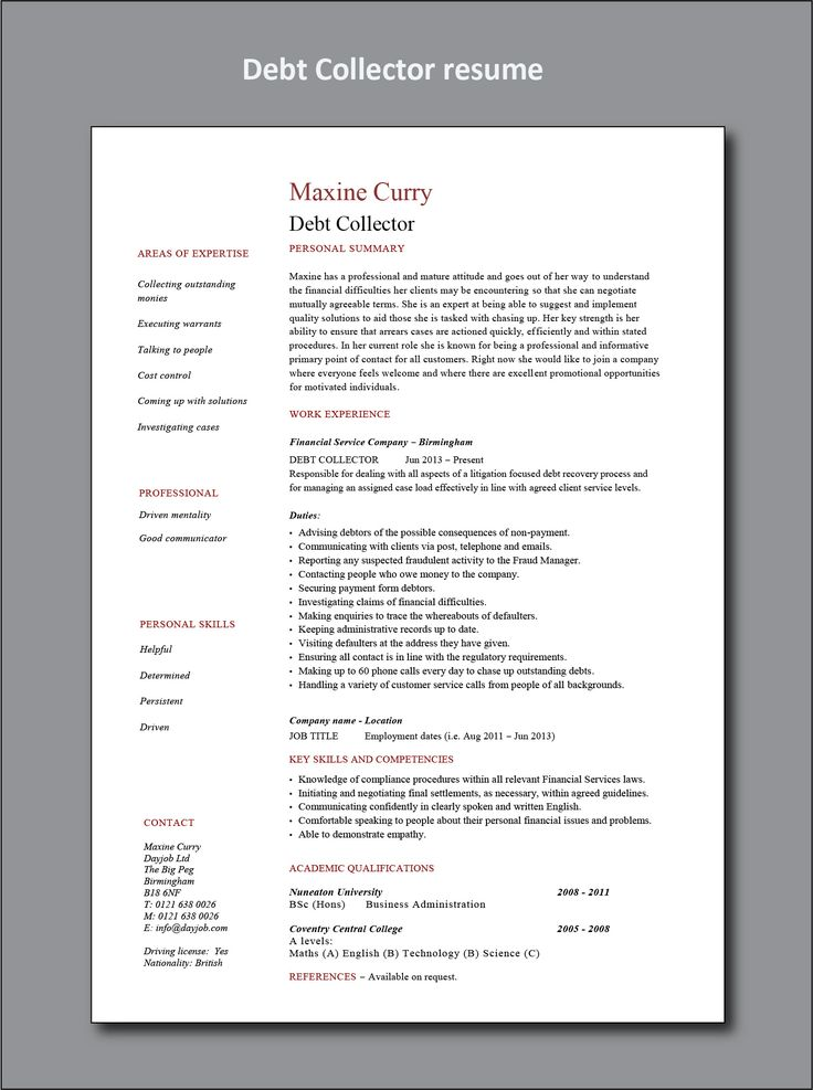 Debt collector resume project manager resume