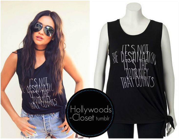 Shay Mitchell   The Coverteur Shay looks stunning in her feature of the Coverteur. Shay wore a Fit To Wander Juniors' Side Tie Graphic Muscle Tee. You can purchase this from Kohls for $15.99 Buy this here