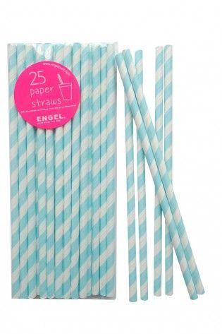 Paper straws pastel blue stripe