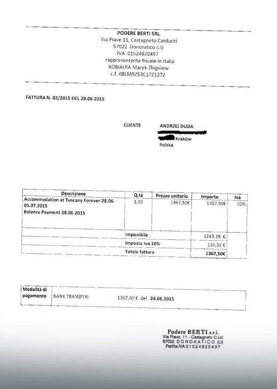 Faktura za pobyt Andrzeja Dudy z rodziną w toskańskiej rezydencji, fot. Materiały nadesłane ze sztabu prezydenta elekta