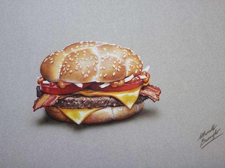 Marcello Barenghi: McDonald's McHeaton #burger - #drawing #marcellobarenghi