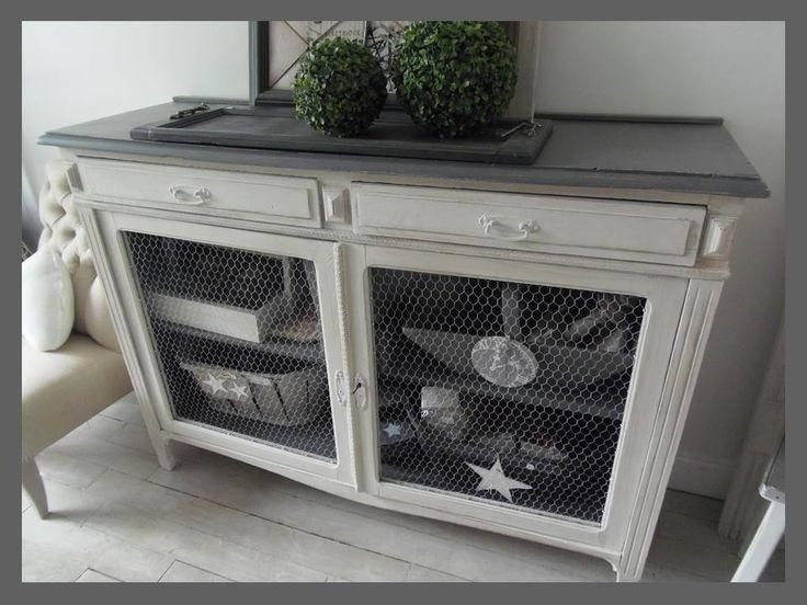 Buffet vintage grillag patin perle et zinc meub - Relooking meuble vintage ...