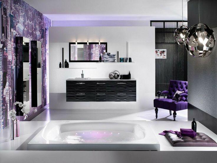 Purple Bathroom Interior, Black And Purple Bathroom Sets