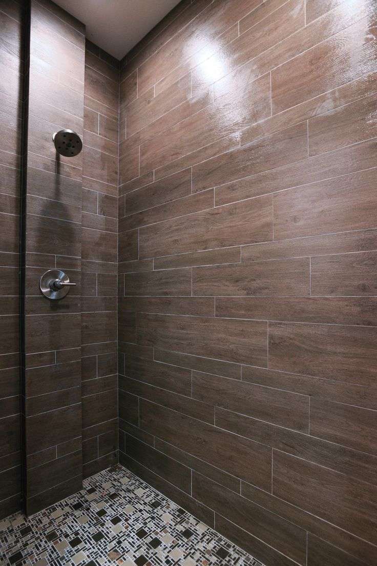 Briarwood mocha faux wood shower tile by the tile shop for Fake tile floor