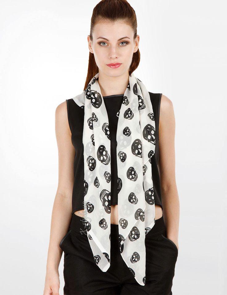 Шифоновый шарф с черепами x-style.ua 99 грн