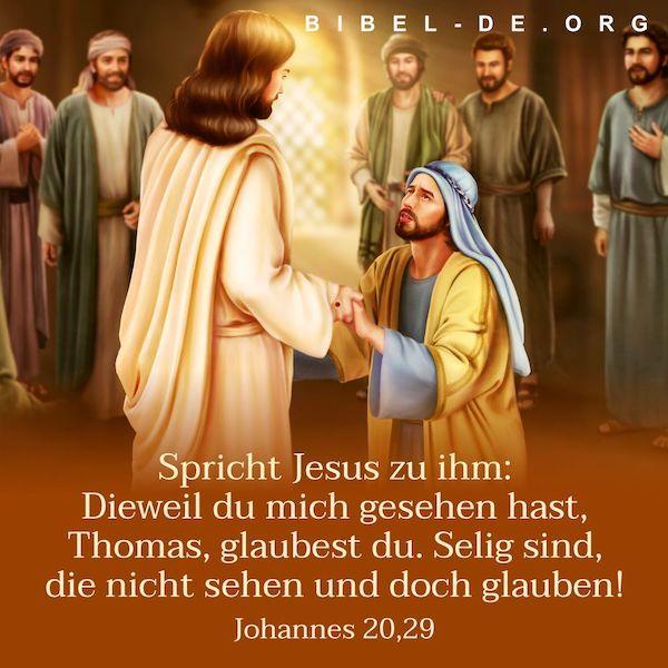 Bibelsprüche: Spricht Jesus zu ihm: Dieweil du mich gesehen hast, Thomas, glaub…