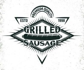 Retro barbecue labels with grunge background vector 08