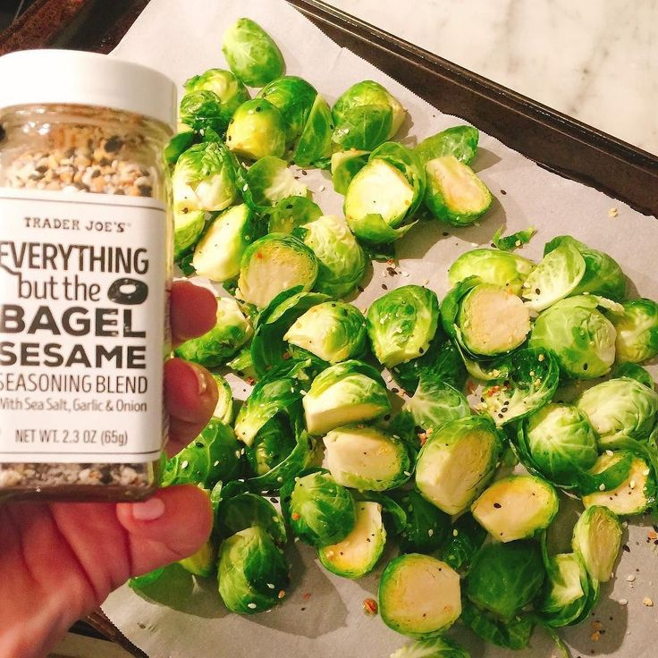 Roasted brussel sprouts with EVOO and some everything-but-the-bagel spices from Trader Joe's What's your veggie(s) tonight ?  #traderjoes #eatyourveggies #feedme #restaurantwife