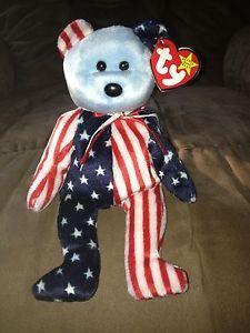 "Rare Ty Beanie Babies | RARE&RETIRED TY BEANIE BABY~SPANGLE AMERICAN FLAG BEAR 8""~BLUE VERSION ..."