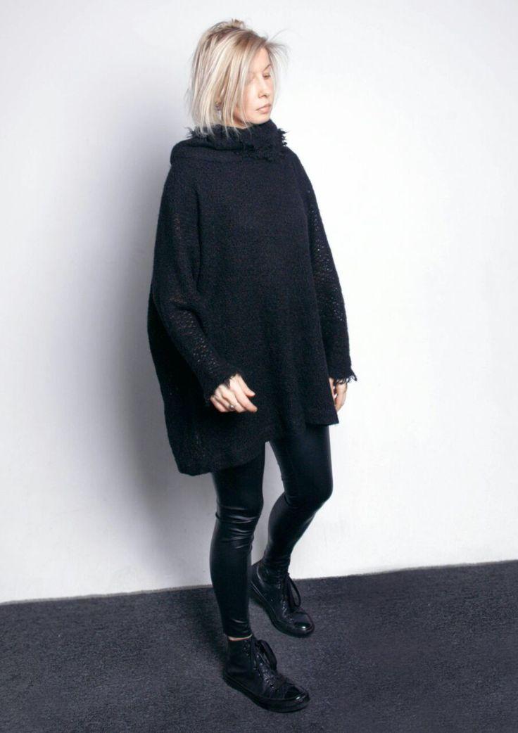 Купить Свитер черный - черный, свитер, свободный крой, Свободный стиль, шерсть 100%