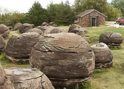 Rock City - near Minneapolis, Kansas; a tiny park that contains about 200 huge sandstone rock formations; they are up to 27 feet in diameter