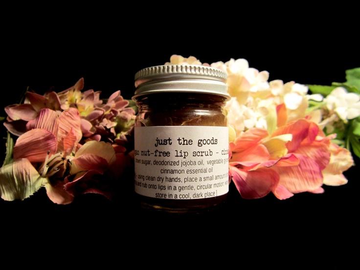 Just the Goods Vegan Lip Scrub - Unflavoured. Contains dark brown sugar, jojoba oil, vegetable glycerin. Available @ Just the Goods (Winnipeg, Manitoba) #unscented #scentfree #fragrancefree #vegan