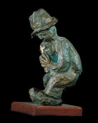 Man who finds solace in a cross - Bronze - Father Frans Claerhout