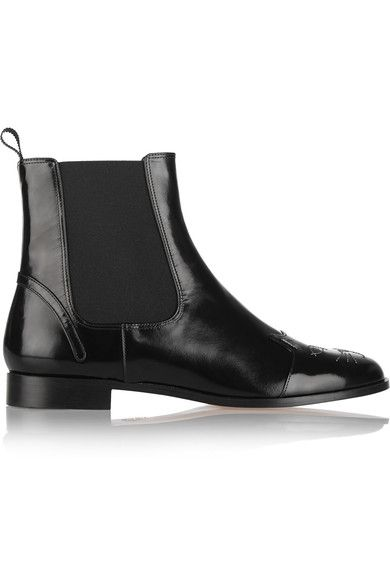 Charlotte Olympia - Chelsea Cats Leather Ankle Boots - Black - IT39.5